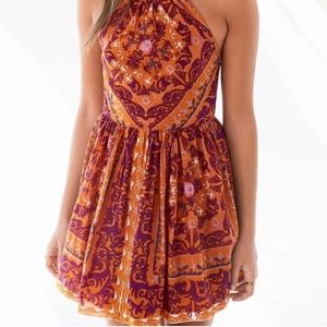 Orange patterned urban outfitters dress